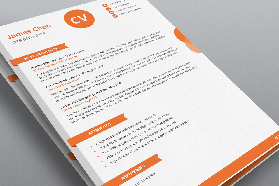 creative resume template word flat 50 use coupon